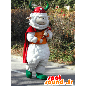 White sheep mascot with a cape and a Viking helmet - MASFR031579 - Mascots sheep