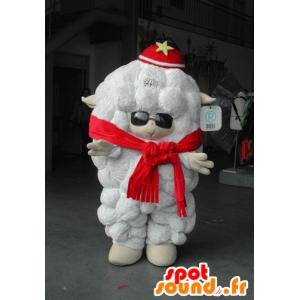 Mascotte de gros mouton blanc, avec des lunettes de soleil