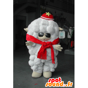 Mascotte all'ingrosso bianco di pecora con gli occhiali da sole