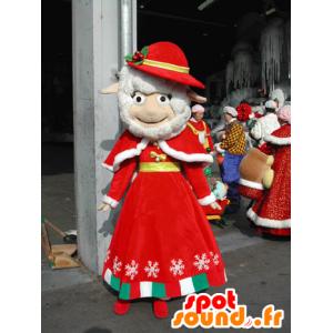 Mascotte de mouton blanc habillé d'une tenue rouge de Noël