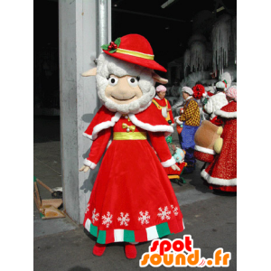 White sheep mascot dressed in red Christmas outfit - MASFR031582 - Mascots sheep