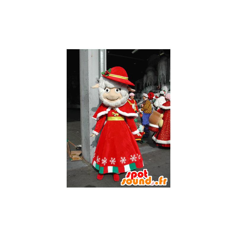 Mascotte de mouton blanc habillé d'une tenue rouge de Noël - MASFR031582 - Mascottes Mouton