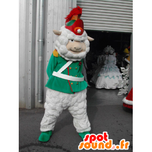 λευκό μασκότ προβάτων ντυμένος ως στρατιώτης, ένας δεκανέας στο