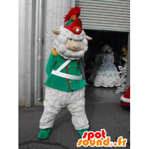 Mascotte de mouton blanc habillé en soldat, en caporal