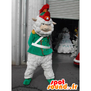 White sheep mascot dressed as a soldier, a corporal in - MASFR031583 - Mascots sheep