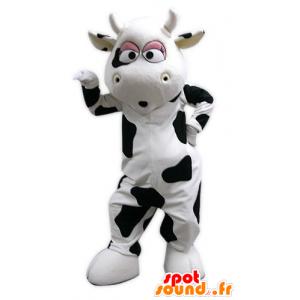 Mascotte gigante di mucca, in bianco e nero