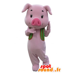 Pink pig mascot with a green vest - MASFR031595 - Mascots pig