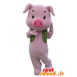 Mascote porco cor de rosa com um colete verde - MASFR031595 - mascotes porco