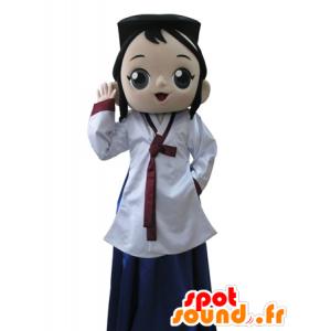 Mascotte Aziatische meisje, brunette. manga mascotte - MASFR031598 - Mascottes Boys and Girls