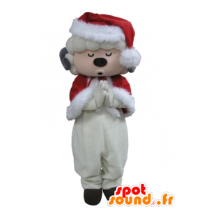 Mascotte de mouton blanc habillé en Père-Noël