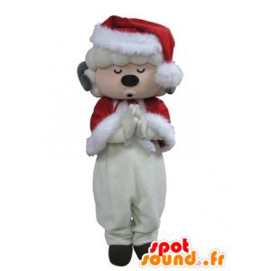 Geklede witte schapen mascotte van de Kerstman