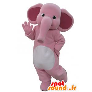 Maskottchen von rosa und weißen Elefanten. Maskottchen Elefant - MASFR031600 - Elefant-Maskottchen