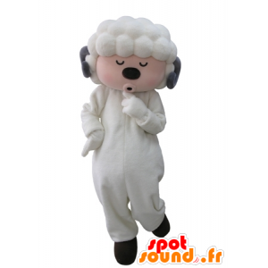 λευκό και γκρι πρόβατα μασκότ με τα μάτια κλειστά