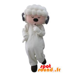 Mascotte de mouton blanc et gris avec les yeux fermés