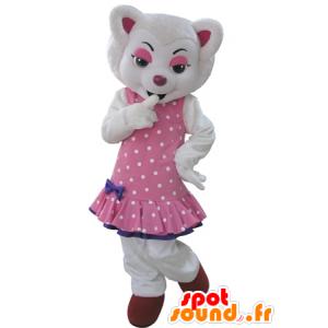 Weißer Wolf-Maskottchen, in einem rosa Kleid mit Tupfen gekleidet - MASFR031602 - Maskottchen-Wolf