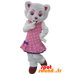White wolf mascot, dressed in a pink dress with polka dots - MASFR031602 - Mascots Wolf
