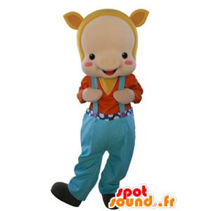 Mascotte de cochon beige, habillé en salopette - MASFR031603 - Mascottes Cochon