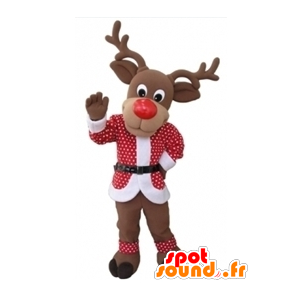 Kerst rendieren mascotte met een rode en witte outfit - MASFR031604 - Kerstmis Mascottes
