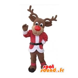 Mascote Rena do Natal com uma roupa vermelha e branca - MASFR031604 - Mascotes Natal