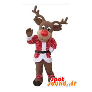 Christmas reindeer mascot with a red and white outfit - MASFR031604 - Christmas mascots