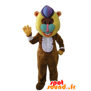 Monkey mascot, brown baboon with a colorful head - MASFR031605 - Mascots monkey