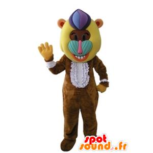 Monkey maskot, brun bavian med en fargerik hode - MASFR031605 - Monkey Maskoter