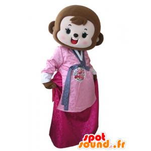 Ruskea apina maskotti pukeutunut vaaleanpunainen mekko - MASFR031606 - monkey Maskotteja