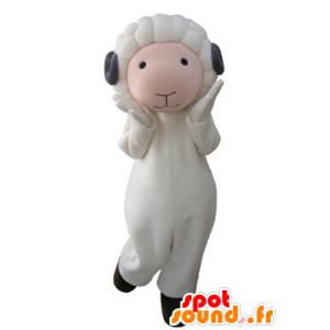 Mascotte de mouton blanc et rose avec des cornes grises