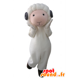 White and pink sheep mascot with gray horns - MASFR031607 - Mascots sheep