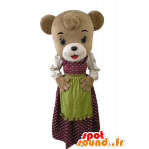 Brown bear mascot dressed in a dress with an apron