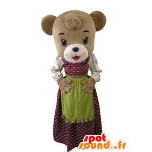 Maskot bjørn kledd i en kjole med et forkle - MASFR031608 - bjørn Mascot