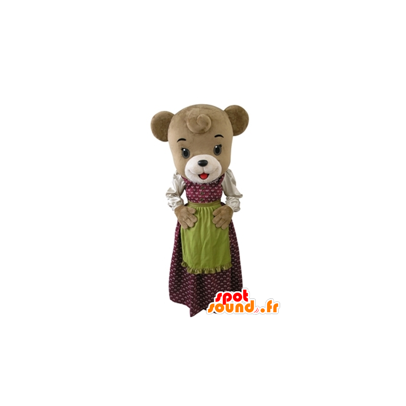 Brown bear mascot dressed in a dress with an apron - MASFR031608 - Bear mascot