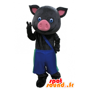 Mascot schwarz und rosa Schwein mit blauen Hosen - MASFR031609 - Maskottchen Schwein