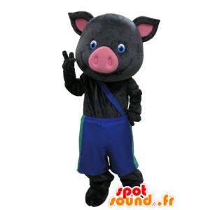 Mascotte de cochon noir et rose avec un pantalon bleu - MASFR031609 - Mascottes Cochon
