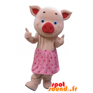 Pink pig mascot with blue eyes and a polka dot skirt - MASFR031610 - Mascots pig