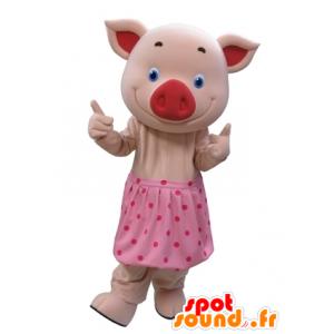 Pink gris maskot med blå øjne og en prikket nederdel -