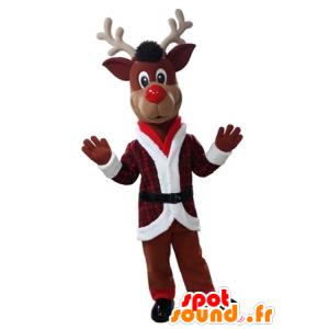 Mascotte de renne de Noël en tenue rouge et blanche - MASFR031612 - Mascottes Noël