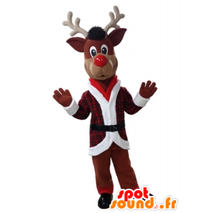 Rena do Natal Mascot segurando vermelho e branco - MASFR031612 - Mascotes Natal