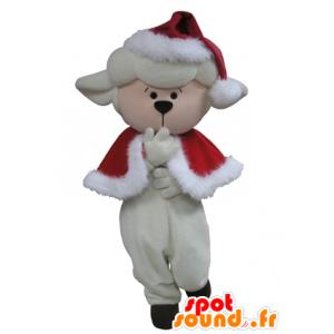 Mascotte de mouton blanc en tenue de Noël