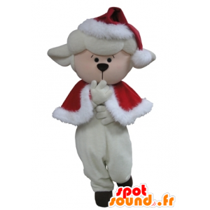 Witte schapen Mascot kerst outfit
