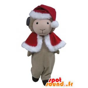 Gray sheep mascot in red Christmas outfit