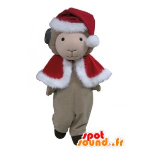 Mascotte de mouton gris en tenue rouge de Noël