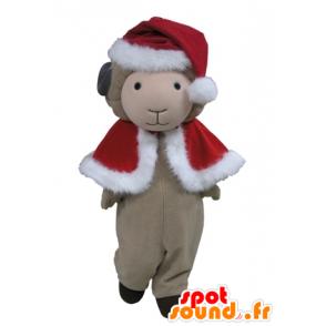 Mascotte de mouton gris en tenue rouge de Noël - MASFR031614 - Mascottes Mouton