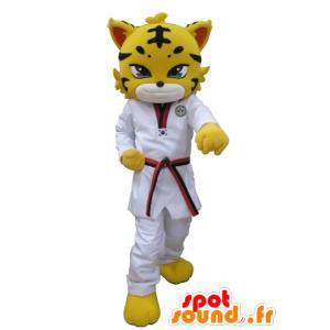 Tiger maskot, oblečený ve žlutém leoparda s bílým kimono - MASFR031615 - Tiger Maskoti
