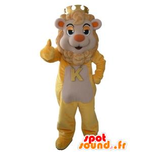 Amarillo y beige mascota del león con una corona en la cabeza - MASFR031616 - Mascotas de León