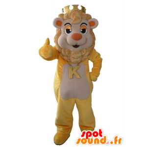 Yellow and beige lion mascot with a crown on his head - MASFR031616 - Lion mascots