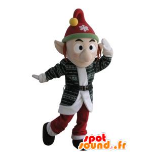 Skřítek maskot s kloboukem a špičatýma ušima - MASFR031617 - Vánoční Maskoti