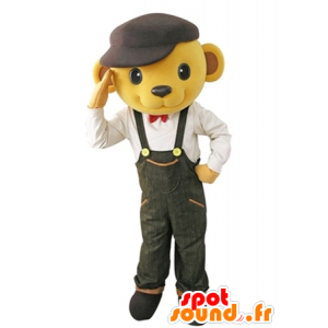 Bear mascot dressed yellow overalls with a beret - MASFR031619 - Bear mascot