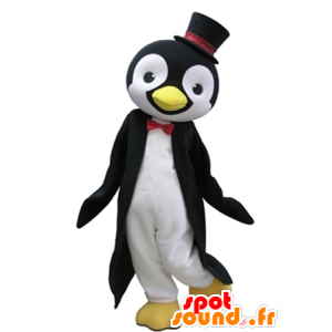 μαύρο και άσπρο πιγκουίνος μασκότ με ένα κορυφαίο καπέλο - MASFR031620 - πιγκουίνος μασκότ