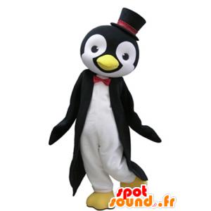 In bianco e nero mascotte pinguino con un cappello a cilindro - MASFR031620 - Mascotte pinguino